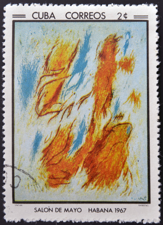 bathers: CUBA - CIRCA 1968: Stamp printed in Cuba commemorative to May Salon, 1967, shows  Bathers. by G. Singier, circa 1968 Stock Photo