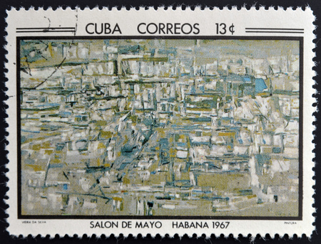 silva: CUBA - CIRCA 1968: Stamp printed in Cuba commemorative to May Salon, 1967, shows Painting by Vieira de Silva, circa 1968