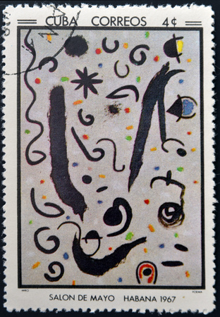 poem: CUBA - CIRCA 1968: Stamp printed in Cuba commemorative to May Salon, 1967, shows Poem by J Miro, circa 1968