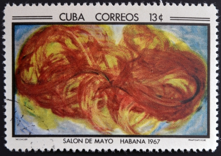 CUBA - CIRCA 1968: Stamp printed in Cuba commemorative to May Salon, 1967, shows Young Tigers by J. Messagier, circa 1968 photo