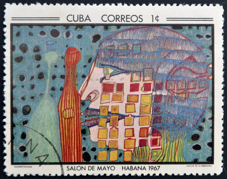 drinker: CUBA - CIRCA 1968: Stamp printed in Cuba commemorative to May Salon, 1967, shows Night of the Drinker by F. Hunderwasser, circa 1968
