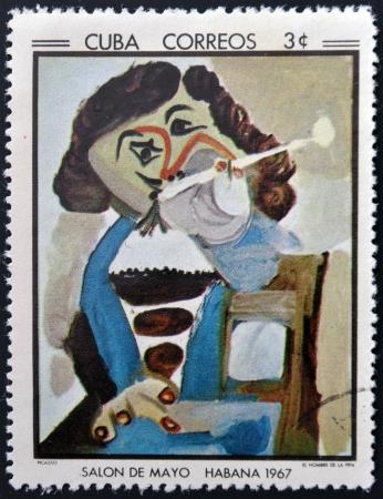 pablo: CUBA - CIRCA 1968: timbro stampato a Cuba commemorativa a maggio Salon 1967, mostra L'uomo con la pipa di Pablo Picasso, circa 1968