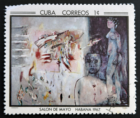 surrealist: CUBA - CIRCA 1968: Stamp printed in Cuba commemorative to May Salon, 1967, shows Figure by Mariano, circa 1968