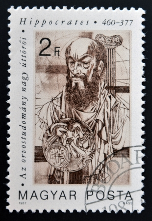 hippocrates: HUNGARY - CIRCA 1987: stamp printed in Hungary shows Hippocrates (father of medicine), circa 1987  Editorial