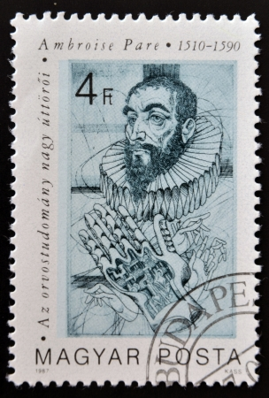 improved: HUNGARY - CIRCA 1987: A stamp printed in Hungary, shows portrait of Ambroise Pare (improved treatment of wounds), 1510 - 1590, circa 1987