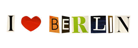 I Love Berlin formed with magazine letters on a white background photo