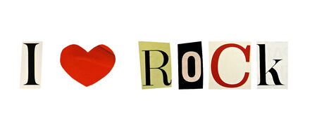 I Love rock formed with magazine letters on a white background photo