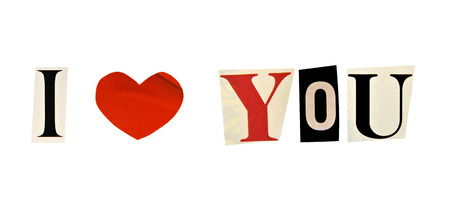 I Love You formed with magazine letters on a white background photo