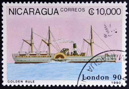 NICARAGUA - CIRCA 1990: A stamp printed in Nicaragua shows Ship, circa 1990  photo