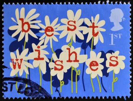 best wishes: UNITED KINGDOM - CIRCA 2002: A stamp printed in Great Britain shows Flowers, best wishes, circa 2002  Stock Photo