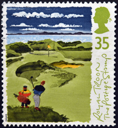 UNITED KINGDOM - CIRCA 1994: A stamp printed in Great Britain shows Golfers with inscriptions royal troon, series Honorable Company of Edinburgh Golfers, 250th Anniversary, circa 1994