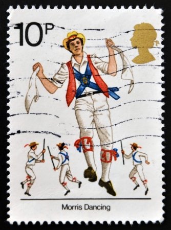 UNITED KINGDOM - CIRCA 1976: A stamp printed in Great Britain dedicated to British Cultural Traditions shows Morris dancing, circa 1976.