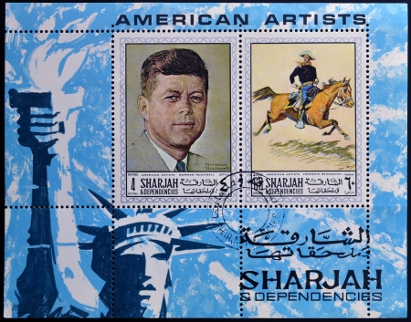 SHARJAH - CIRCA 1984: A stamp printed in Sharjah dedicated to american artists, circa 1984