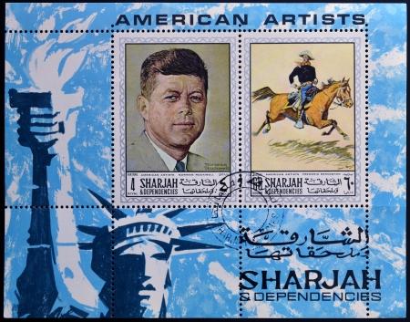 sharjah: SHARJAH - CIRCA 1984: A stamp printed in Sharjah dedicated to american artists, circa 1984  Editorial