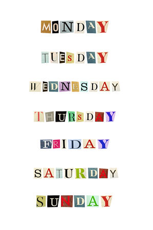 weekdays: The weekdays formed with magazine letters on a white background