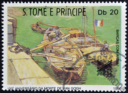 SAO TOME AND PRINCIPE - CIRCA 1990: A stamp printed in Sao Tome shows Boats with sand, by Vincent Van Gogh, circa 1990 photo