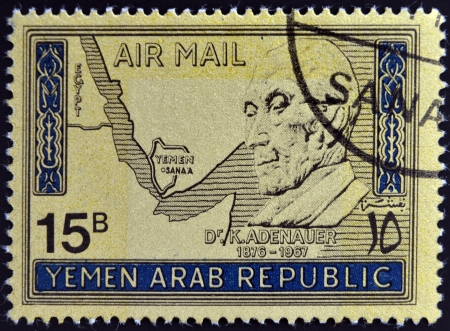 west of germany: YEMEN ARAB REPUBLIC - CIRCA 1968 : a stamp printed inYemen shows Konrad Adenauer, German Politician, Chancellor of West Germany from 1949 until 1963, circa 1968  Editorial
