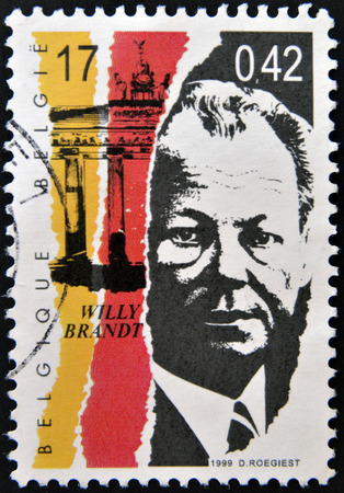 brandt: BELGIUM - CIRCA 1999: a stamp printed in Belgium shows an image of Willy Brandt, circa 1999.  Editorial