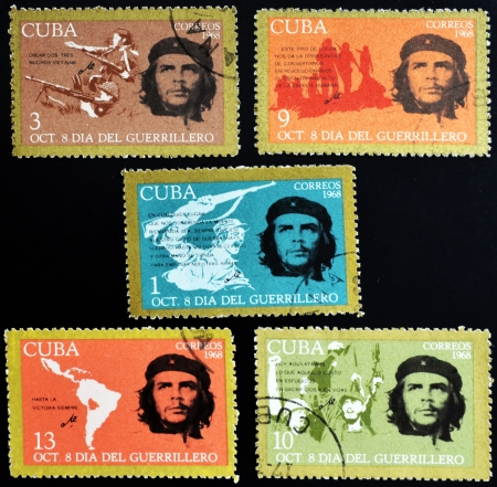 CUBA - CIRCA 1968 : stamps printed in Cuba shows Ernesto Che Guevara- legendary guerrilla, circa 1968