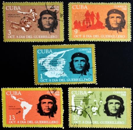 guerrilla: CUBA - CIRCA 1968 : stamps printed in Cuba shows Ernesto Che Guevara- legendary guerrilla, circa 1968