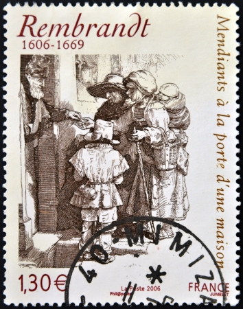 beggars: FRANCE - CIRCA 2006: A stamp printed in France shows Beggars receiving alms at the door of a house by Rembrandt, circa 2006