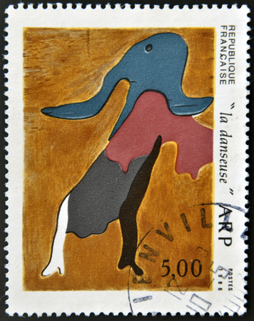 figurative art: FRANCE - CIRCA 1986: A stamp printed in France shows the dancer by Jean Arp, circa 1986