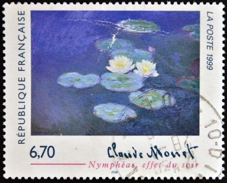 monet: FRANCE - CIRCA 1999: A stamp printed in France shows lilies, evening effect by Claude Monet, circa 1999