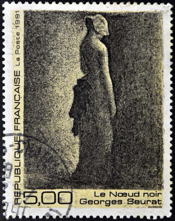 FRANCE - CIRCA 1991: A stamp printed in France shows black node by Georges Seurat, circa 1991 Editorial