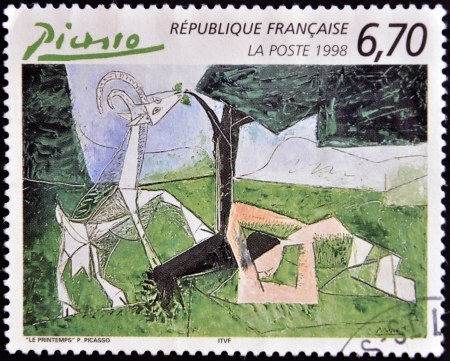 FRANCE - CIRCA 1998: A stamp printed in France shows spring by Pablo Picasso, circa 1998