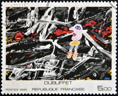 FRANCE - CIRCA 1985: A stamp printed in France shows painting by Dubuffet, circa 1985