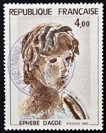 hellenic: FRANCE - CIRCA 1982: a stamp printed in France shows Young Greek Soldier, Hellenic Sculpture, Agude, circa 1982