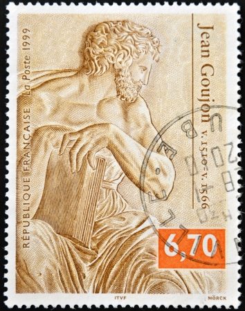 FRANCE - CIRCA 1999: A stamp printed in France shows a sculpture by Jean Goujon, circa 1999