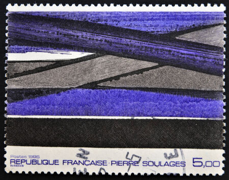 FRANCE - CIRCA 1986: A stamp printed in France shows a painting by Pierre Soulages, circa 1986