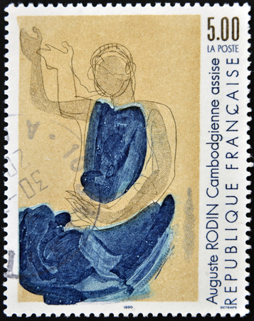 rodin: FRANCE - CIRCA 1990: A stamp printed in France shows Cambodian seat by Auguste Rodib, circa 1990