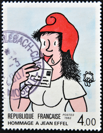FRANCE - CIRCA 1983: A stamp printed in France dedicated to Jean Effel, circa 1983 Editorial