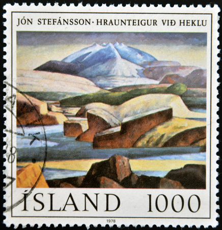 ICELAND - CIRCA 1978: A stamp printed in Iceland shows painting by Jon Stefansson, circa 1978