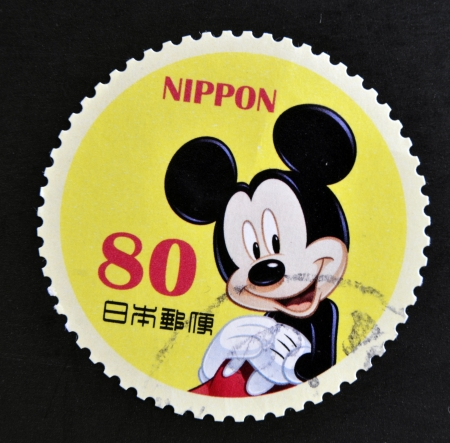 JAPAN - CIRCA 2012: A stamp printed in Japan shows Mickey Mouse, circa 2012