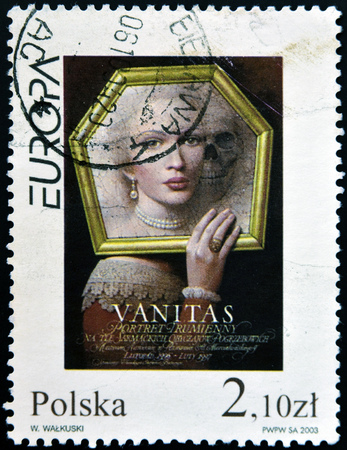 POLAND - CIRCA 2003: A stamp printed in Poland shows Vanitas poster by Wieslaw Walkuski, circa 2003 Editorial