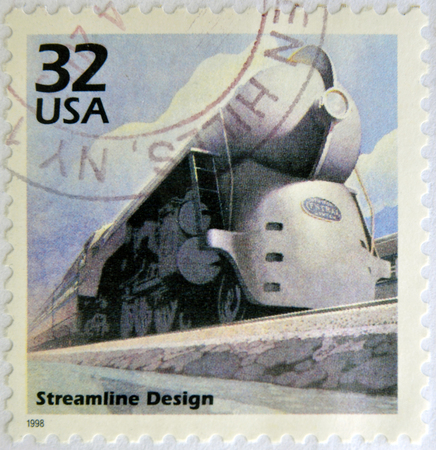UNITED STATES OF AMERICA - CIRCA 1998: a stamp printed in USA showing an image of a train with streamline design, circa 1998.