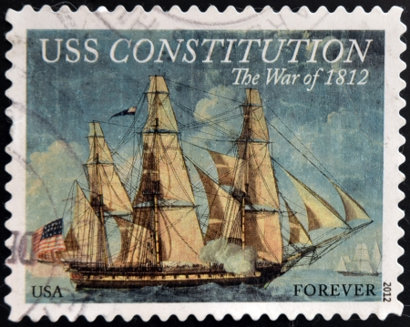 UNITED STATES OF AMERICA - CIRCA 2012: A stamp printed in USA dedicated to USS Constitution, the war of 1812, circa 2012 Editorial