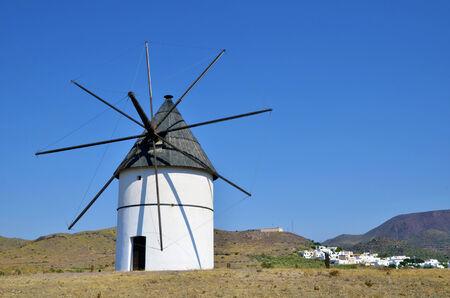 Windmill near San Jose, Almeria Province, Andalusia, Spain  photo