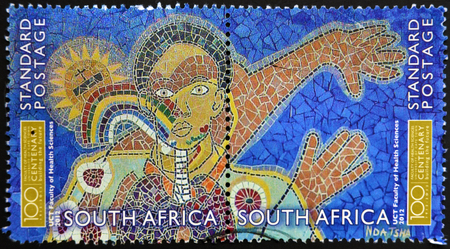 rsa: SOUTH AFRICA - CIRCA 2012: A stamp printed in RSA shows mural on the faculty of health sciences, University of Cape Town, circa 2012