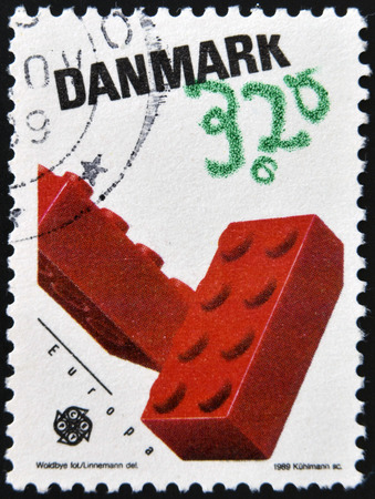 DENMARK - CIRCA 1989: a stamp printed in Denmark shows Lego Blocks, Children´s toys, circa 1989