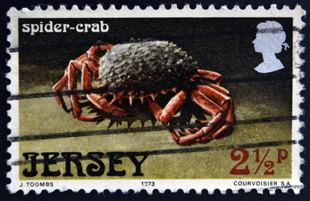chinese postage stamp: JERSEY - CIRCA 1973: A stamp printed in Jersey shows a spider-crab, circa 1973 Editorial