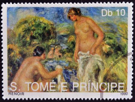 bathers: SAO TOME E PRINCIPE - CIRCA 1990: Un timbro stampato in Sao Tome mostra le Bagnanti di Renoir, circa 1990