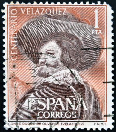 velazquez: SPAIN - CIRCA 1961: A stamp printed in Spain shows Portrait of the Count-Duke of Olivares by Velazquez, circa 1961 Editorial