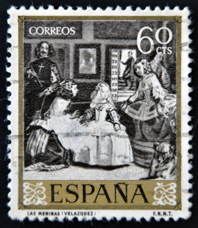velazquez: SPAIN - CIRCA 1959: A stamp printed in Spain shows Las Meninas by Velazquez, circa 1959
