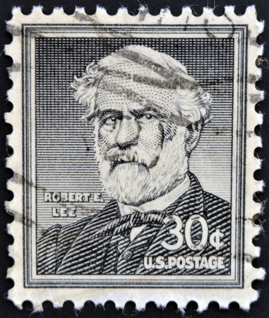 UNITED STATES OF AMERICA - CIRCA 1954: a stamp printed in  USA shows Portrait General Robert E. Lee, commander of the Confederate Army of Northern Virginia in the American Civil War, circa 1954
