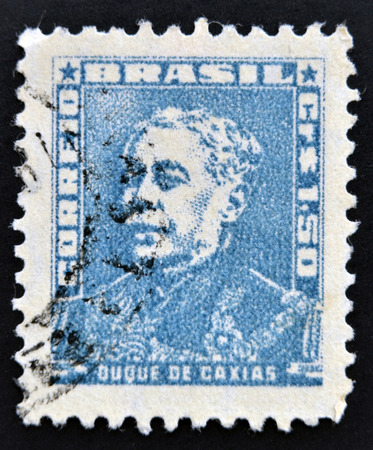 silva: BRAZIL - CIRCA 1954: stamp printed in Brazil, shows a military officer, politician and monarchist, Luis Alves de Lima e Silva, Duke of Caxias, circa 1954  Editorial