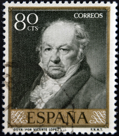 stempeln: SPAIN - CIRCA 1958: A stamp printed in Spain shows painter Francisco Goya after Vicente Lopez, circa 1958.  Editorial